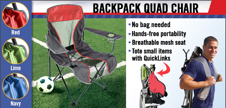 Kelsyus Backpack Quad Chairs - hands-free portable camping chairs!