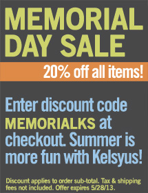 Memorial Day Sale - Save 20% on your order at Kelsyus.com  with discount code MemorialKS. Sale ends May 28, 2013.